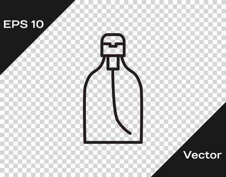 Black line Bottle of liquid antibacterial soap with dispenser icon isolated on transparent background. Disinfection, hygiene, skin care. Vector Illustration Illustration