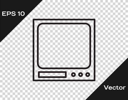 Black line Electronic scales icon isolated on transparent background. Weight measure equipment. Vector Illustration
