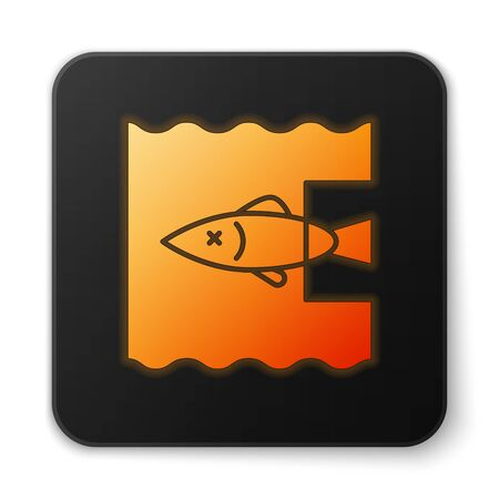 Orange glowing neon Stop ocean plastic pollution icon isolated on white background. Environment protection concept. Fish say no to plastic. Black square button. Vector Illustration Illusztráció