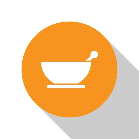 White Mortar and pestle icon isolated on white background. Orange circle button. Vector Illustration