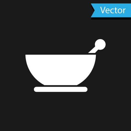 White Mortar and pestle icon isolated on black background. Vector Illustration Illustration