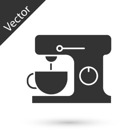 Grey Electric mixer icon isolated on white background. Kitchen blender. Vector Illustration