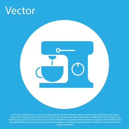 Blue Electric mixer icon isolated on blue background. Kitchen blender. White circle button. Vector Illustration Ilustrace