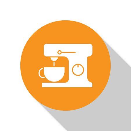 White Electric mixer icon isolated on white background. Kitchen blender. Orange circle button. Vector Illustration