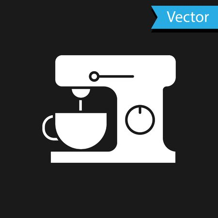 White Electric mixer icon isolated on black background. Kitchen blender. Vector Illustration