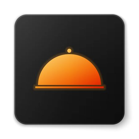 Orange glowing neon Covered with a tray of food icon isolated on white background. Tray and lid. Restaurant cloche with lid. Kitchenware symbol. Black square button. Vector Illustration