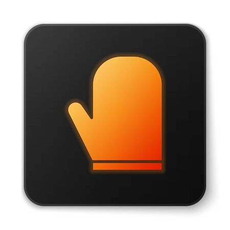 Orange glowing neon Oven glove icon isolated on white background. Kitchen potholder sign. Cooking glove. Black square button. Vector Illustration