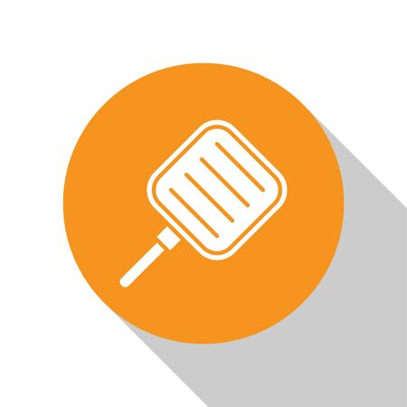 White Frying pan icon isolated on white background. Fry or roast food symbol. Orange circle button. Vector Illustration