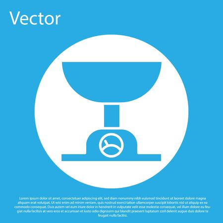 Blue Electronic scales icon isolated on blue background. Weight measure equipment. White circle button. Vector Illustration