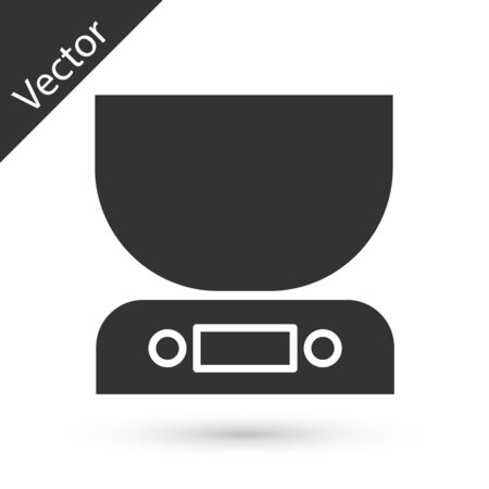 Grey Electronic scales icon isolated on white background. Weight measure equipment. Vector Illustration