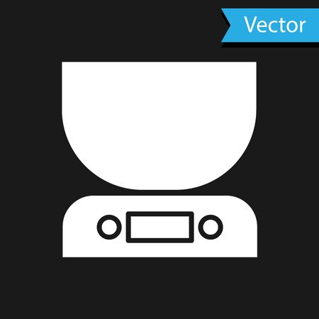 White Electronic scales icon isolated on black background. Weight measure equipment. Vector Illustration
