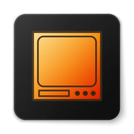 Orange glowing neon Electronic scales icon isolated on white background. Weight measure equipment. Black square button. Vector Illustration