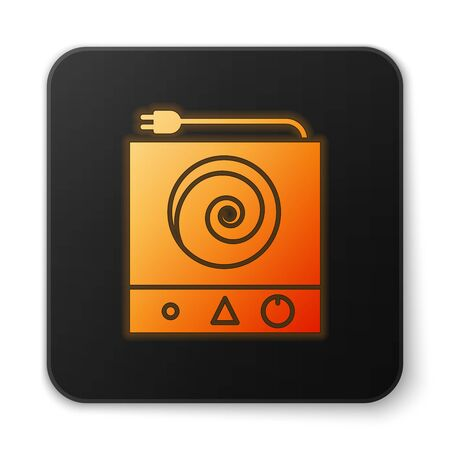 Orange glowing neon Electric stove icon isolated on white background. Cooktop sign. Hob with four circle burners. Black square button. Vector Illustration