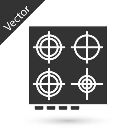Grey Gas stove icon isolated on white background. Cooktop sign. Hob with four circle burners. Vector Illustration