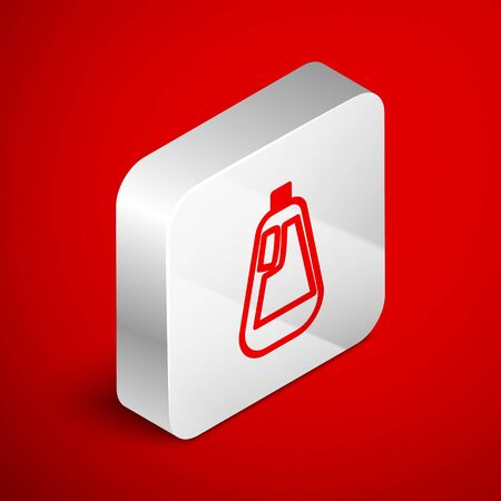 Isometric line Plastic bottle for liquid laundry detergent, bleach, dishwashing liquid icon isolated on red background. Silver square button. Vector Illustration