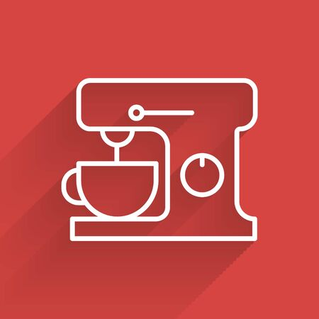White line Electric mixer icon isolated with long shadow. Kitchen blender. Vector Illustration