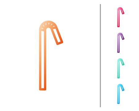 Red line Drinking plastic straw icon isolated on white background. Set color icons. Vector Illustration