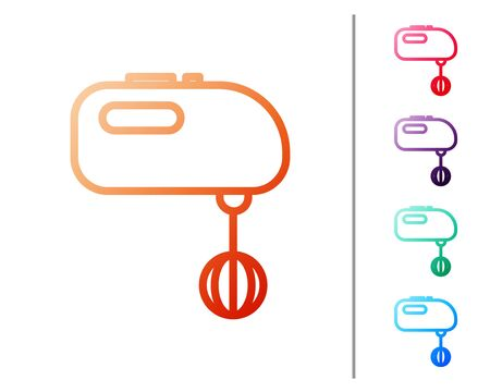 Red line Electric mixer icon isolated on white background. Kitchen blender. Set color icons. Vector Illustration