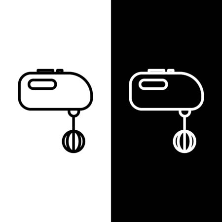 Set line Electric mixer icon isolated on black and white background. Kitchen blender. Vector Illustration Ilustrace