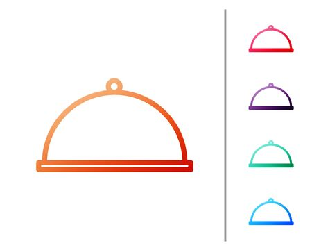 Red line Covered with a tray of food icon isolated on white background. Tray and lid. Restaurant cloche with lid. Kitchenware symbol. Set color icons. Vector Illustration