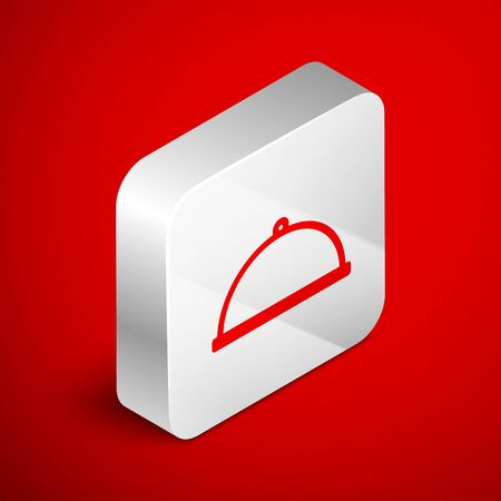 Isometric line Covered with a tray of food icon isolated on red background. Tray and lid. Restaurant cloche with lid. Kitchenware symbol. Silver square button. Vector Illustration