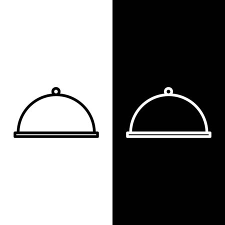 Set line Covered with a tray of food icon isolated on black and white background. Tray and lid. Restaurant cloche with lid. Kitchenware symbol. Vector Illustration Illustration