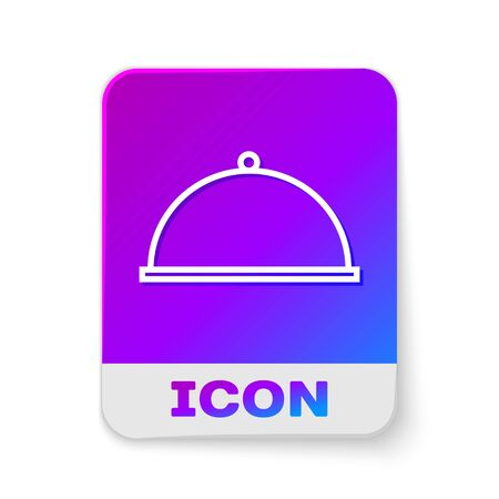 White line Covered with a tray of food icon isolated on white background. Tray and lid. Restaurant cloche with lid. Kitchenware symbol. Rectangle color button. Vector Illustration Ilustrace