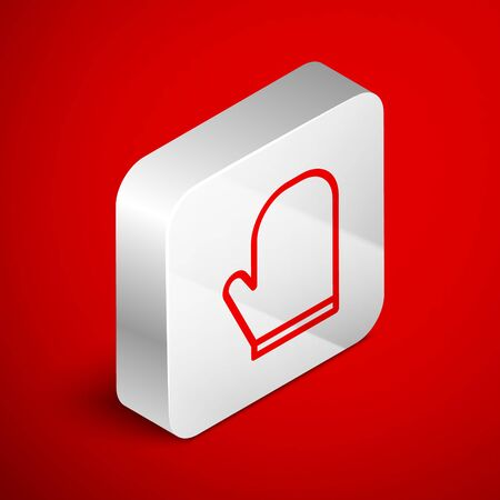 Isometric line Oven glove icon isolated on red background. Kitchen potholder sign. Cooking glove. Silver square button. Vector Illustration