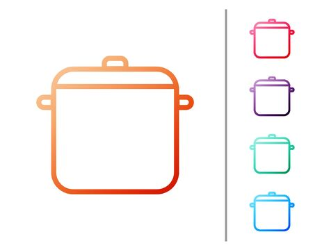 Red line Cooking pot icon isolated on white background. Boil or stew food symbol. Set color icons. Vector Illustration