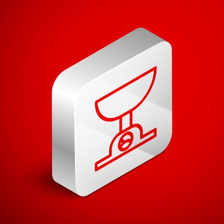 Isometric line Electronic scales icon isolated on red background. Weight measure equipment. Silver square button. Vector Illustration