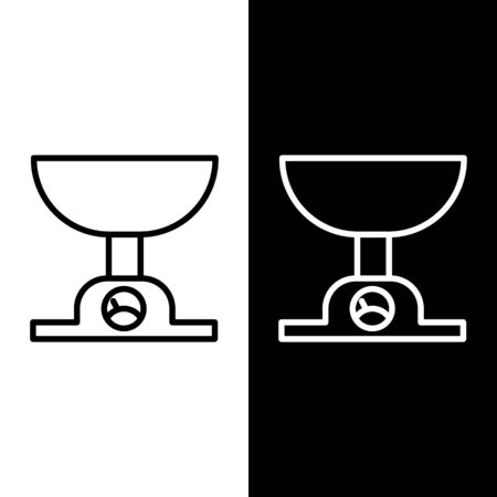 Set line Electronic scales icon isolated on black and white background. Weight measure equipment. Vector Illustration Çizim