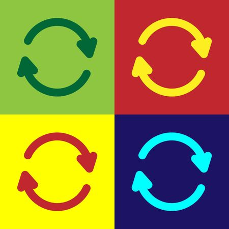 Color Refresh icon isolated on color background. Reload symbol. Rotation arrows in a circle sign. Vector Illustration Ilustracja