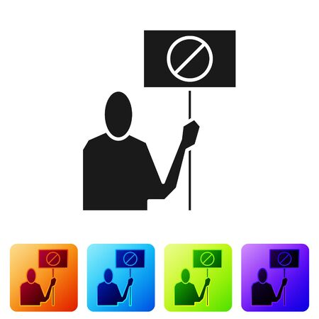 Black Nature saving protest icon isolated on white background. Earth planet protection, environmental issues demonstration. Set icons in color square buttons. Vector Illustration