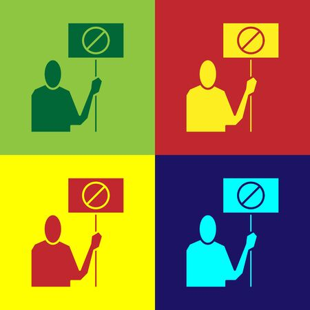 Color Nature saving protest icon isolated on color background. Earth planet protection, environmental issues demonstration. Vector Illustration