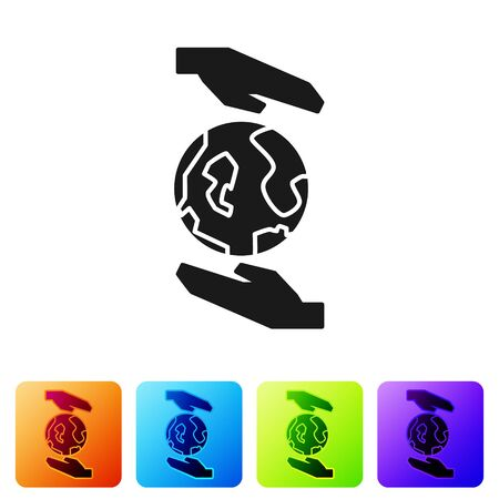 Black Human hands holding Earth globe icon isolated on white background. Save earth concept. Set icons in color square buttons. Vector Illustration Illustration