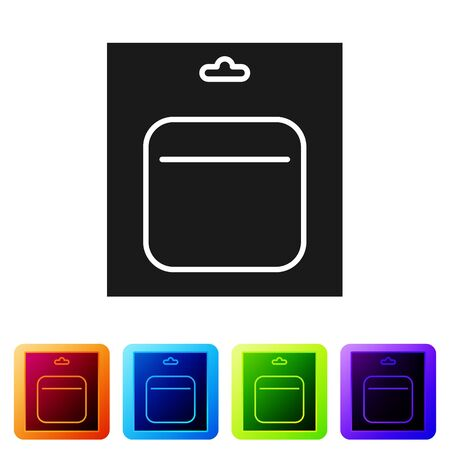 Black Battery in pack icon isolated on white background. Lightning bolt symbol. Set icons in color square buttons. Vector Illustration Çizim