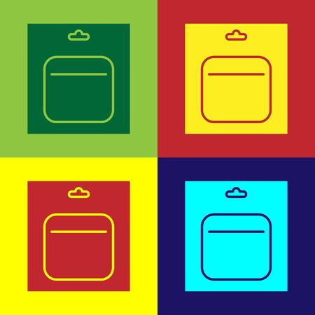 Color Battery in pack icon isolated on color background. Lightning bolt symbol. Vector Illustration