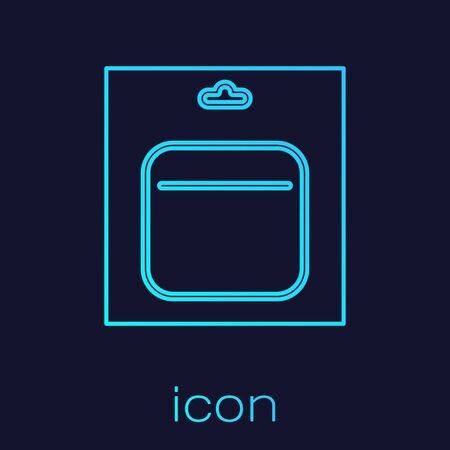Turquoise line Battery in pack icon isolated on blue background. Lightning bolt symbol.  Vector Illustration Çizim