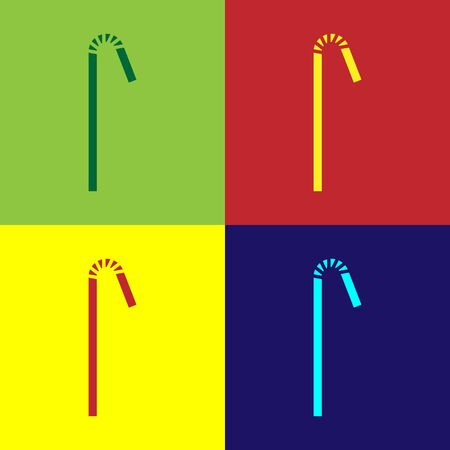 Color Drinking plastic straw icon isolated on color background. Vector Illustration Ilustração