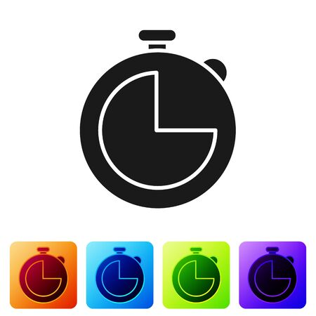 Black Kitchen timer icon isolated on white background. Cooking utensil. Set icons in color square buttons. Vector Illustration Ilustrace