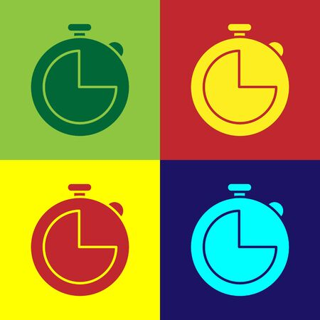 Color Kitchen timer icon isolated on color background. Cooking utensil. Vector Illustration