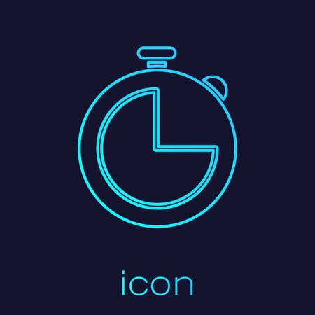 Turquoise line Kitchen timer icon isolated on blue background. Cooking utensil. Vector Illustration Ilustrace