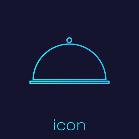Turquoise line Covered with a tray of food icon isolated on blue background. Tray and lid. Restaurant cloche with lid. Kitchenware symbol.  Vector Illustration
