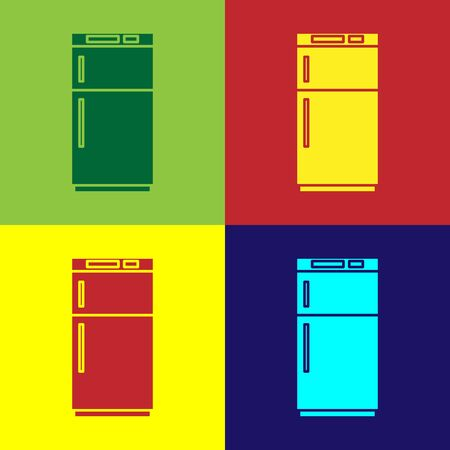 Color Refrigerator icon isolated on color background. Fridge freezer refrigerator. Household tech and appliances. Vector Illustration