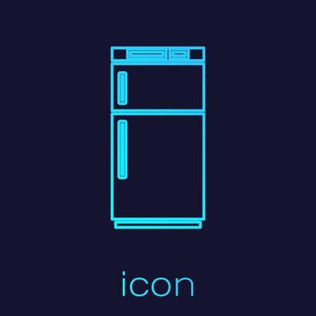 Turquoise line Refrigerator icon isolated on blue background. Fridge freezer refrigerator. Household tech and appliances. Vector Illustration