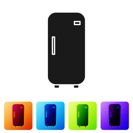 Black Refrigerator icon isolated on white background. Fridge freezer refrigerator. Household tech and appliances. Set icons in color square buttons. Vector Illustration