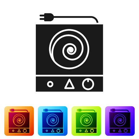 Black Electric stove icon isolated on white background. Cooktop sign. Hob with four circle burners. Set icons in color square buttons. Vector Illustration Vettoriali