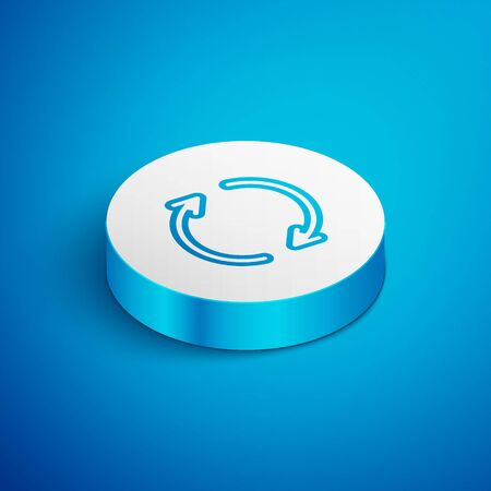 Isometric line Refresh icon isolated on blue background. Reload symbol. Rotation arrows in a circle sign. White circle button. Vector Illustration