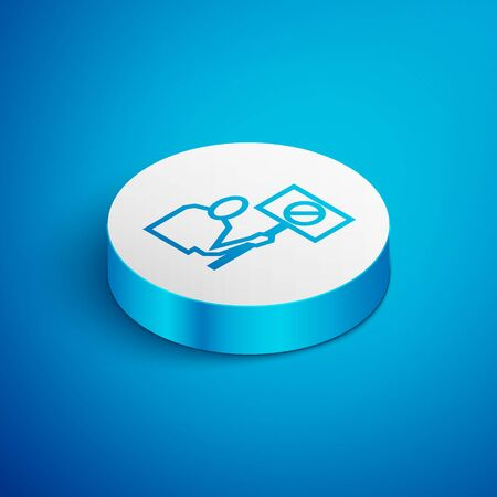 Isometric line Nature saving protest icon isolated on blue background. Earth planet protection, environmental issues demonstration. White circle button. Vector Illustration