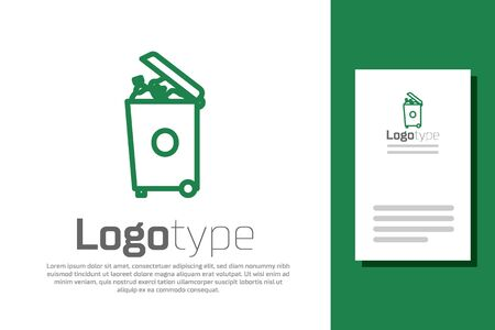 Green line Trash can icon isolated on white background. Garbage bin sign. Recycle basket icon.